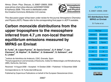 Carbon Monoxide Distributions from the U... by Funke, B.