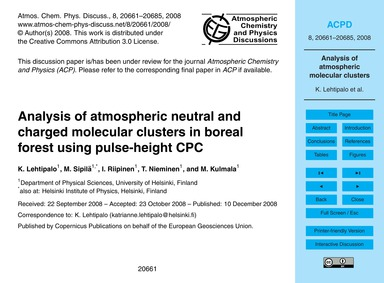 Analysis of Atmospheric Neutral and Char... by Lehtipalo, K.