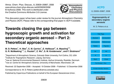 Towards Closing the Gap Between Hygrosco... by Petters, M. D.