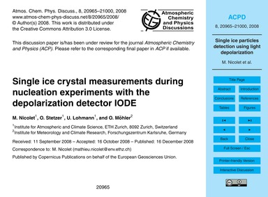Single Ice Crystal Measurements During N... by Nicolet, M.