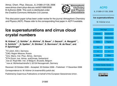 Ice Supersaturations and Cirrus Cloud Cr... by Krämer, M.