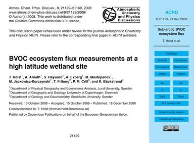 Bvoc Ecosystem Flux Measurements at a Hi... by Holst, T.