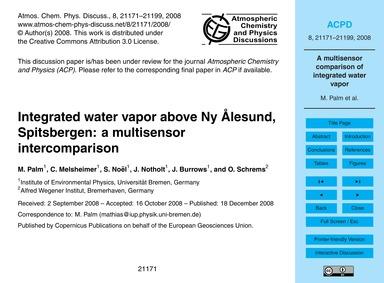 Integrated Water Vapor Above Ny Ålesund,... by Palm, M.