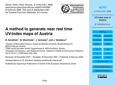 A Method to Generate Near Real Time Uv-i... by Schallhart, B.