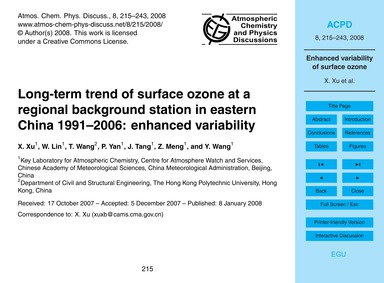 Long-term Trend of Surface Ozone at a Re... by Xu, X.
