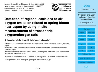 Detection of Regional Scale Sea-to-air O... by Yamagishi, H.