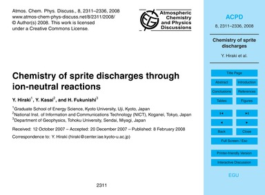 Chemistry of Sprite Discharges Through I... by Hiraki, Y.
