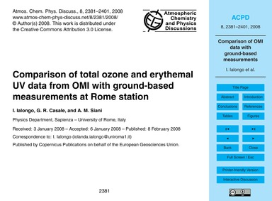 Comparison of Total Ozone and Erythemal ... by Ialongo, I.
