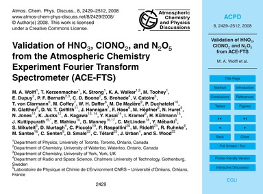 Validation of Hno3, Clono2, and N2O5 fro... by Wolff, M. A.