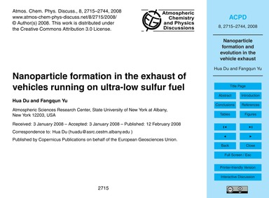 Nanoparticle Formation in the Exhaust of... by Hua Du