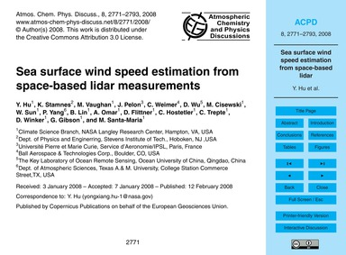 Sea Surface Wind Speed Estimation from S... by Hu, Y.