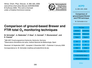Comparison of Ground-based Brewer and Ft... by Schneider, M.