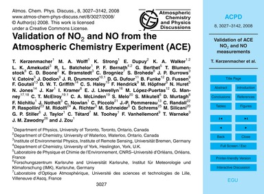 Validation of No2 and No from the Atmosp... by Kerzenmacher, T.
