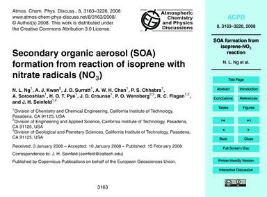 Secondary Organic Aerosol (Soa) Formatio... by Ng, N. L.