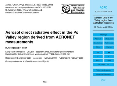 Aerosol Direct Radiative Effect in the P... by Clerici, M.