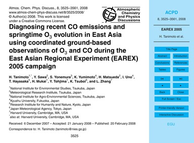 Diagnosing Recent Co Emissions and Sprin... by Tanimoto, H.