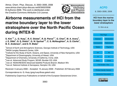 Airborne Measurements of Hcl from the Ma... by Kim, S.