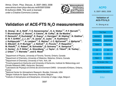 Validation of Ace-fts N2O Measurements :... by Strong, K.