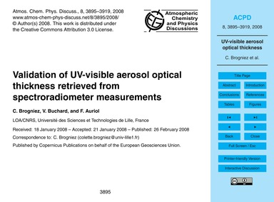 Validation of Uv-visible Aerosol Optical... by Brogniez, C.