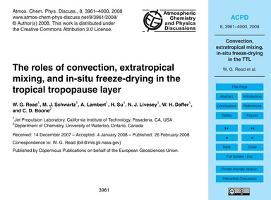 The Roles of Convection, Extratropical M... by Read, W. G.
