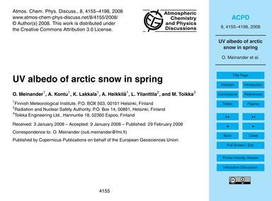 Uv Albedo of Arctic Snow in Spring : Vol... by Meinander, O.