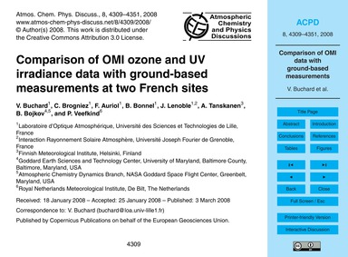 Comparison of Omi Ozone and Uv Irradianc... by Buchard, V.