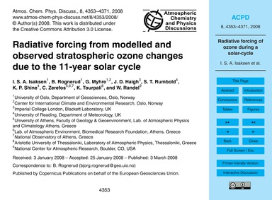 Radiative Forcing from Modelled and Obse... by Isaksen, I. S. A.