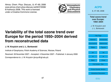 Variability of the Total Ozone Trend Ove... by Krzyścin, J. W.