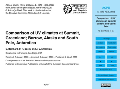 Comparison of Uv Climates at Summit, Gre... by Bernhard, G.