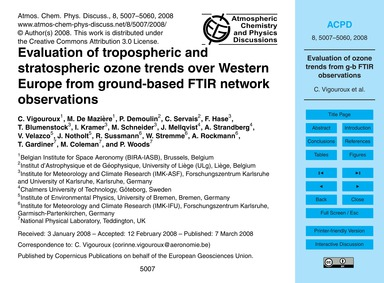 Evaluation of Tropospheric and Stratosph... by Vigouroux, C.