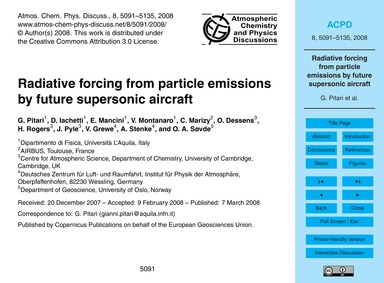 Radiative Forcing from Particle Emission... by Pitari, G.