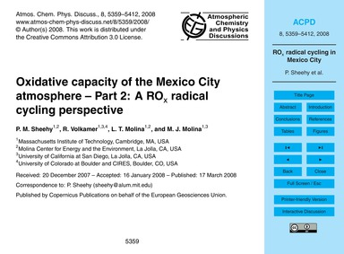 Oxidative Capacity of the Mexico City At... by Sheehy, P. M.