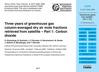 Three Years of Greenhouse Gas Column-ave... by Schneising, O.