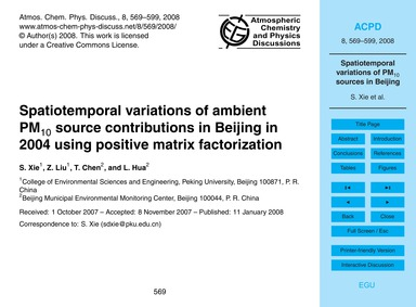 Spatiotemporal Variations of Ambient Pm1... by Xie, S.