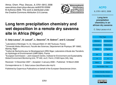 Long Term Precipitation Chemistry and We... by Galy-lacaux, C.