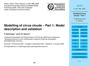 Modelling of Cirrus Clouds – Part 1: Mod... by Spichtinger, P.