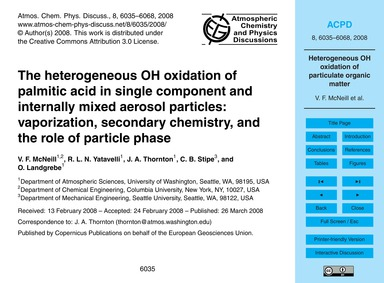 The Heterogeneous Oh Oxidation of Palmit... by McNeill, V. F.