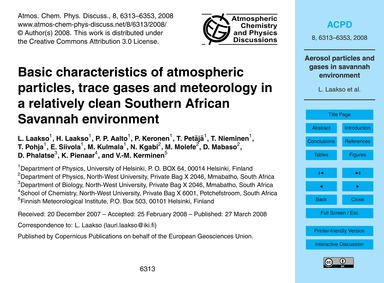 Basic Characteristics of Atmospheric Par... by Laakso, L.