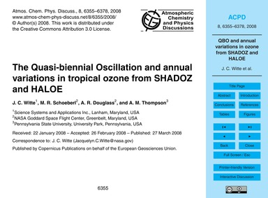 The Quasi-biennial Oscillation and Annua... by Witte, J. C.