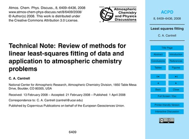 Technical Note: Review of Methods for Li... by Cantrell, C. A.