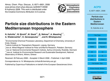 Particle Size Distributions in the Easte... by Kalivitis, N.