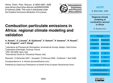 Combustion Particulate Emissions in Afri... by Konare, A.