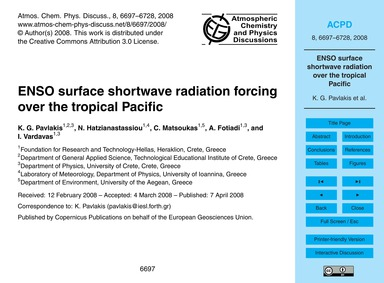 Enso Surface Shortwave Radiation Forcing... by Pavlakis, K. G.