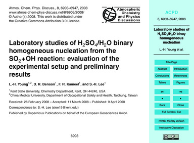 Laboratory Studies of H2So4/H2O Binary H... by Young, L.-h.