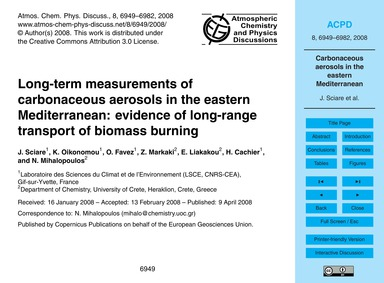 Long-term Measurements of Carbonaceous A... by Sciare, J.