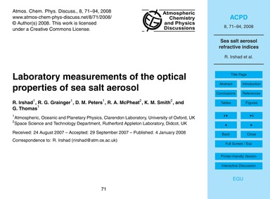 Laboratory Measurements of the Optical P... by Irshad, R.