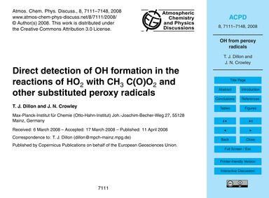 Direct Detection of Oh Formation in the ... by Dillon, T. J.