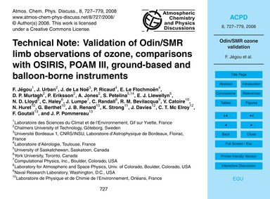 Technical Note: Validation of Odin/Smr L... by Jégou, F.