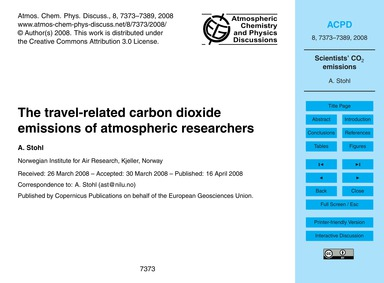 The Travel-related Carbon Dioxide Emissi... by Stohl, A.