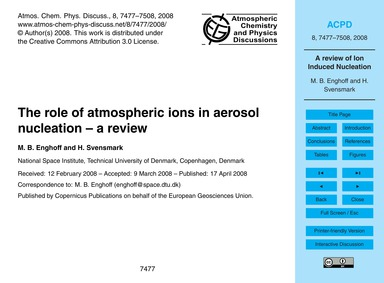 The Role of Atmospheric Ions in Aerosol ... by Enghoff, M. B.